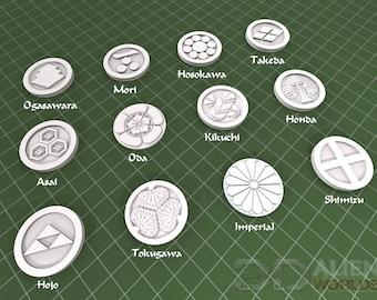 "Samurai - Clan Symbols - DND - Pathfinder - Dungeons & Dragons - Warhammer - Test of Honour - RPG - Tabletop - 28 mm / 1"""