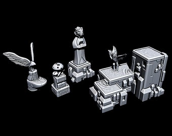 """Fountains And Statues - Novus Landing - Starfinder - Cyberpunk - Science Fiction - Syfy - RPG - Tabletop - Scatter - Terrain - 28 mm / 1"""""""