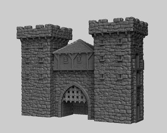 Gatehouse - DND - Dungeons & Dragons - RPG - Pathfinder - Tabletop - TTRPG - Medieval Scenery - Dark Realms - 28 mm
