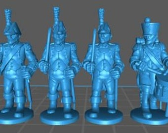 French Line Command 1808, bicorn - Great for Table Top War Games And Dioramas - Resin 28mm Miniatures - Bolt Action -