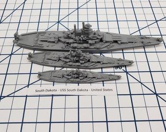 Battleship - South Dakota - US Navy - Wargaming - Axis and Allies - Naval Miniature - Victory at Sea - Tabletop Games - Warships