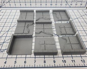 "Water Wall Tiles - EC3D - DND - Pathfinder - Dungeons & Dragons - RPG - Tabletop - 28 mm / 1"" - True Tiles"