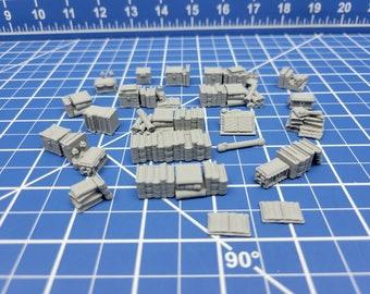 "Bookshelf Item Set- Library & Study Accessories - Hero's Hoard - EC3D - DND - RPG - Pathfinder - 28 mm / 1"" scale"