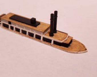 Sternwheel Gunboat - Union - Ships - Sailboats - Age of Sail - War Game - Wargaming - Tabletop Games - 1/600 Scale