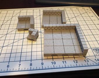 Cut Stone Corner Low Wall Tiles - OpenForge  - OpenLock - DND - Pathfinder - Dungeons & Dragons - RPG - Tabletop - Terrain