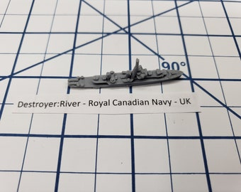 Destroyer - River Class - Royal Canadian Navy - Wargaming - Axis and Allies - Naval Miniature - Victory at Sea - Tabletop Games - Warships