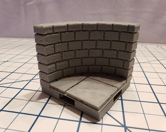 """Cut Stone Curved Wall Tiles - OpenLock or DragonLock - Openforge - DND - Pathfinder - Dungeons & Dragons - RPG - Tabletop - 28 mm / 1"""""""