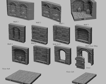 Dwarven Dungeon Tiles  Walls - DND - Dungeons & Dragons - RPG - Pathfinder - Tabletop - TTRPG - Medieval Scenery - Dark Realms - 28 mm