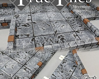 "True Tiles - Cut Stone Premium Set 125 Tiles! - OpenLock - DND - Pathfinder - Dungeons & Dragons - Terrain - RPG - Tabletop - 28 mm / 1"""