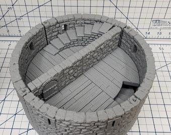 "Castle Style - Round Tower Floors - DragonLock - DND - Pathfinder - RPG - Dungeon & Dragons - 28 mm / 1"" - Terrain - Fat Dragon Games"