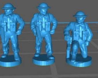 WW2 UK infantry command - Great for Table Top War Games And Dioramas - Resin 15mm Miniatures - Bolt Action -