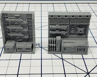 Weapons Rack - Ignis Quadrant - Starfinder - Cyberpunk - Science Fiction - Syfy - RPG - Tabletop - EC3D - Scatter - Terrain