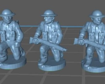 UK infantry kneeling - Great for Table Top War Games And Dioramas - Resin 15mm Miniatures - Bolt Action -