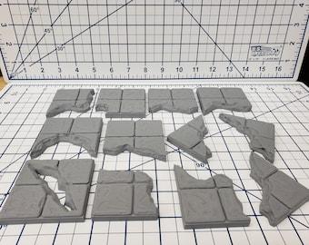 "Chasm Floor Tiles - EC3D - DND - Pathfinder - Dungeons & Dragons - RPG - Tabletop - 28 mm / 1"" - True Tiles"