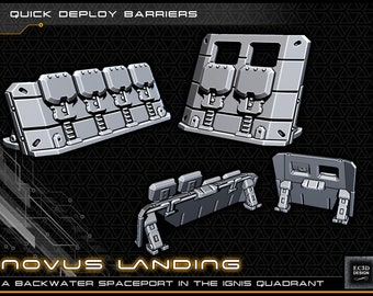 "Quick Deploy Barricades - Novus Landing - Starfinder - Cyberpunk - Science Fiction - Syfy - RPG - Tabletop - Scatter- Terrain- 28 mm / 1"""