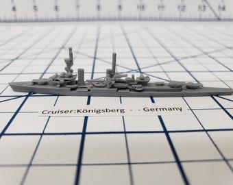 Cruiser - Konigsberg - German Navy - Wargaming - Axis and Allies - Naval Miniature - Victory at Sea - Tabletop Games - Warships