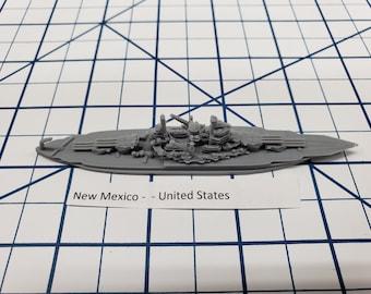 Battleship - New Mexico - 1944 Variant -US Navy - Wargaming - Axis and Allies - Naval Miniature - Victory at Sea - Tabletop Games - Warships