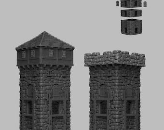 Tower Corner Section - DND - Dungeons & Dragons - RPG - Pathfinder - Tabletop - TTRPG - Medieval Scenery - Dark Realms - 28 mm