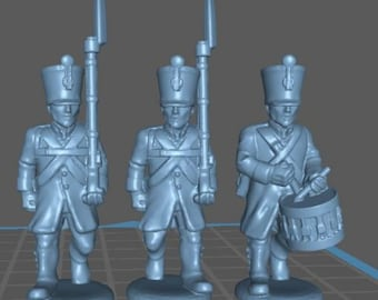 Austrian Bohmische Landwehr with Shako and Uberrock - Great for Table Top War Games And Dioramas - Resin 28mm Miniatures - Bolt Action -