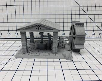 "OpenForge Open Air Wheel Mill - Tabletop - DND - Pathfinder - RPG - 28 mm / 1"" - Terrain - Dungeons & Dragons - Warhammer"