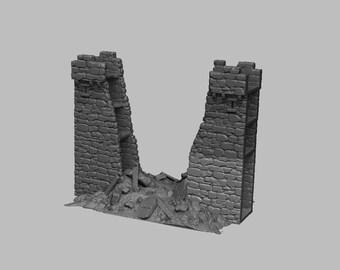 Ruined Castle Walls - DND - Dungeons & Dragons - RPG - Pathfinder - Tabletop - TTRPG - Medieval Scenery - Dark Realms - 28 mm