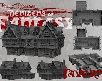 Tavern - DND - Dungeons & Dragons - RPG - Pathfinder - Tabletop - TTRPG - Demizens of Fantasy - Dark Realms - 28 mm