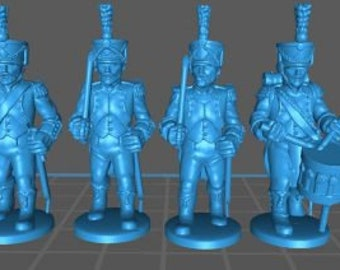 French light inf Command 1808, high uniform - Great for Table Top War Games And Dioramas - Resin 28mm Miniatures - Bolt Action -