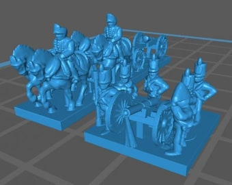 British Artillery 1808 and train - Great for Table Top War Games And Dioramas - Resin 6mm Miniatures - Bolt Action -