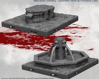 Dwarven Tiles - DND - Dungeons & Dragons - RPG - Pathfinder - Tabletop - TTRPG - Medieval Scenery - Dark Realms - 28 mm