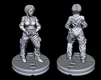 "Alien Female Pilot - Novus Landing - Starfinder - Cyberpunk - Science Fiction - Syfy - RPG - Tabletop - Scatter- Terrain- 28 mm / 1"""
