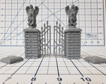 """Cemetery Gate and Walls - DragonLock - DND - Pathfinder - RPG - Dungeon & Dragons - 28 mm / 1"""" - Fat Dragon Games"""