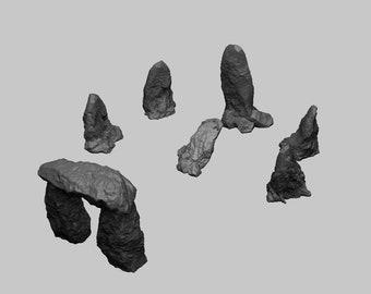 Runic Stone Circle Set - DND - Dungeons & Dragons - RPG - Pathfinder - Tabletop - TTRPG - Medieval Scenery - Dark Realms - 28 mm