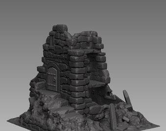Watchtower Ruins - DND - Dungeons & Dragons - RPG - Pathfinder - Tabletop - TTRPG - Medieval Scenery - Dark Realms - 28 mm