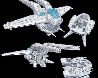 "Sparrowhawk - Novus Landing - Starfinder - Cyberpunk - Science Fiction - Syfy - RPG - Tabletop - Scatter- Terrain- 28 mm / 1"""