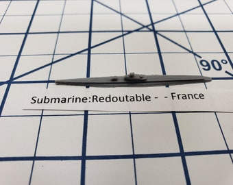 Submarine - Redoutable - French Navy - Wargaming - Axis and Allies - Naval Miniature - Victory at Sea - Tabletop Games - Warships