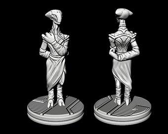 "Oquiar Diplomat and Bodyguard - Novus Landing - Starfinder - Cyberpunk - Science Fiction - Syfy - RPG - Tabletop - Scatter- Terrain- 28mm/1"""
