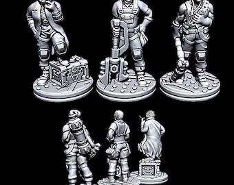 "Alien Dock Workers - Novus Landing - Starfinder - Cyberpunk - Science Fiction - Syfy - RPG - Tabletop - Scatter- Terrain- 28 mm / 1"""