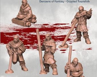 Crippled Townsfolk  - DND - Dungeons & Dragons - RPG - Pathfinder - Tabletop - TTRPG - Demizens of Fantasy - Dark Realms - 28 mm