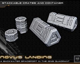 "Cargo Crates - Novus Landing - Starfinder - Cyberpunk - Science Fiction - Syfy - RPG - Tabletop - Scatter - Terrain - 28mm/1"""