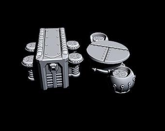 "Cantina Tables - Novus Landing - Starfinder - Cyberpunk - Science Fiction - Syfy - RPG - Tabletop - Scatter - Terrain - 28mm/1"""