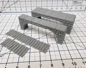 """Dungeon Stone - Free Standing Bridges - Fat Dragon Games - DND - Pathfinder - RPG - Terrain - 28 mm / 1"""" - Dungeon & Dragons - Warhammer"""