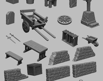 Scatter Terrain Set - DND - Dungeons & Dragons - RPG - Pathfinder - Tabletop - TTRPG - Medieval Scenery - Dark Realms - 28 mm