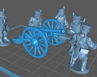 French Artillery 1808, Charging - Great for Table Top War Games And Dioramas - Resin 28mm Miniatures - Bolt Action -