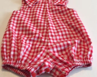 8bba29ba0d2b Red gingham romper suit