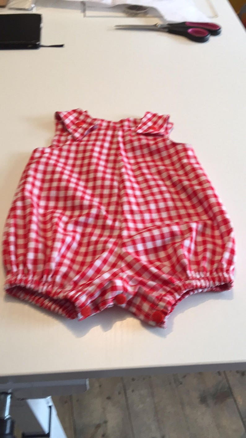 87a882161cad Red gingham romper suit