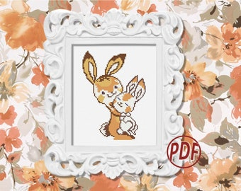 Bunny cross stitch pattern pdf - Mom and baby Rabbits ornament - Baby shower gift - Mom gifts idea - Animals nursery decor embroidery #42