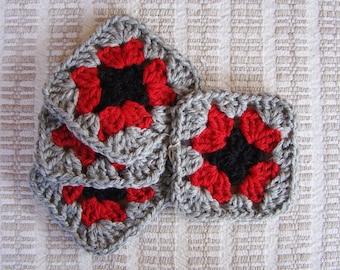 Crochet mug rug, granny square coaster, handmade mug rug, crochet coaster, set of 4