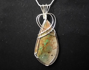 Sterling Silver Wire Wrapped Peanut Butter Chocolate Chip Turquoise Pendant