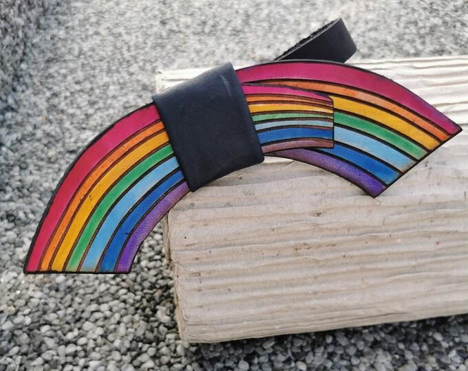 Leather bow tie 'Rainbow'