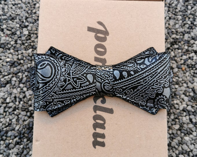 Faux leather fly 'Paisley silver'